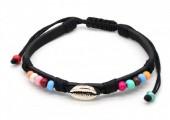 A-E5.3 B221-010 PU Bracelet with Beads and Metal Shell Black