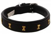 H-D21.3  MTDC-002 Leather Dog Collar with Bones Black S 49x2.5cm