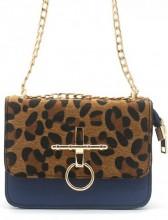 T-C7.1 BAG122-001 Trendy PU bag with Leopard Print Blue 18x14x6 cm