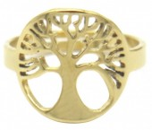 E-F4.3 R519-005G S. Steel Ring Adjustable Tree of Life Gold