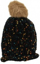 T-L2.1 Spotted Beanie with Fake Fur Pompon Black