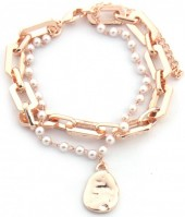 E-C19.1 B2019-002RG Metal Chain Bracelet with Pearls Rose Gold