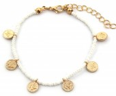 A-D15.2 B2039-018B Bracelet with Glass Beads and Coins White