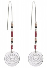 D-B4.5 E010-034S S. Steel Earrings with Beads and Coin 5.5cm