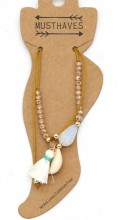 E-F23.1 ANK221-018 Anklet withE-F23.1 ANK221-018 Anklet with Tassel and Shell Brown Tassel and Shell Brown