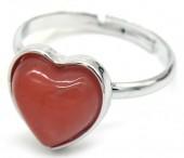 D-F9.1 R1934-009 Adjustable Ring Dark Pink Stone Silver