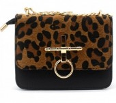 T-L3.2 BAG122-001 Trendy PU bag with Leopard Print Black 18x14x6 cm