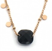 D-C18.1 N2020-006RG S. Steel Necklace Coins and Glass Rose Gold
