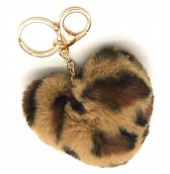 F-F21.1  KY414-001C Fluffy Keychain Heart Leopard Brown
