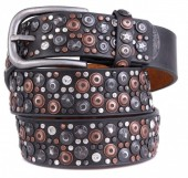 H-C1.1 FTG-060 PU with Leather Belt with Studs-Stars-Crystals 3.5x90cm Grey