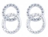 E-B3.5 E103-023 925 Sterling Silver Earrrings Crystal Circles