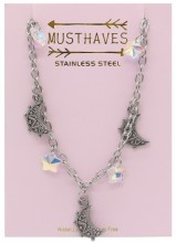 G-E3.2 N2053-001 S. Steel Necklace Moon and Stars 36-39cm For Kids