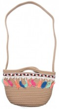 Y-E2.5 BAG539-002 Woven Cotton Crossbody Bag with Tassels 34x18.5x10cm
