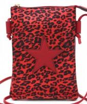 T-J3.1 BAG326-002 PU Festival Crossbody Bag Leopard with Star 20x15cm Red