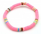 C-B5.3 B1925-007 Surf Bracelet with Rubber Beads Pink