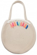 Y-F2.1 BAG539-003 Woven Cotton Bag with Tassels 35x10cm