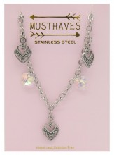 F-B8.3 N2053-003 S. Steel Necklace Hearts 36-39cm For Kids