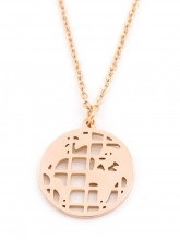 B-D7.2 N1902 Stainless Steel Necklace with World Map 15mm Rose Gold