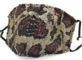 G-B9.1 FM042-035A Glitter Face Mask Leopard - Individually Packed - Brown-Red