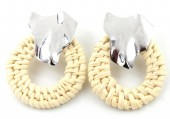B-C20.4 E426-014 Straw with Metal Earrings 50x40mm Silver