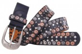 H-C22.1 FTG-059 PU with Leather Belt with Studs 3.5x100cm Black