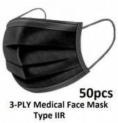 3-PLY Medical Face Mask Type IIR - Black - 50pcs