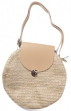 Y-D5.4 BAG541-001B Woven Straw Bag with PU 30x9cm Beige