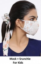 R-G3.2 Face Mask with Scrunchie Set - Washable - Flower - Brown for Kids