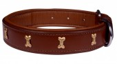 H-D6.1 MTDC-002 Leather Dog Collar with Bones Brown S 49x2.5cm