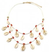 E-E23.2 N538-004 Layered Necklace Surfbeads-Glassbeads-Shells