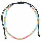 A-A20.2  B2039-014F Bracelet with Glass Beads Pink-Blue