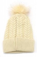T-B6.2 HAT003-003H Hat with Fake Fur Bordeaux Beige