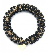 D-F18.1 H2039-001B Hair Elastic with Faceted Glass Beads BlackD-F18.1 H2039-001B Hair Elastic with Faceted Glass Beads Black