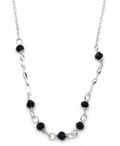 F-F17.5 SN104-288 925S Silver Necklace with 2mm Faceted Glass Beads