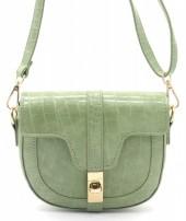 Y-E2.1 BAG006-011B PU Bag Croco 15x19x5cm Green