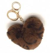 F-E22.1  KY414-001H Fluffy Keychain Heart Leopard Dark Brown