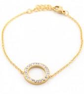 E-A5.3 E410-003 S. Steel Bracelet Crystal Circle 15mm Gold