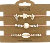 F-E17.1 B2001-048C Bracelet Set 3pcs Stones and Shells Pink