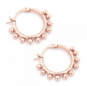 C-D4.2  E1264-004S Stainless Steel Earrings with Dots 15mm Rose Gold