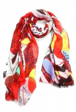 X-F8.1  S314-001 Scarf with Fantasy Animal Print 180x90cm Red