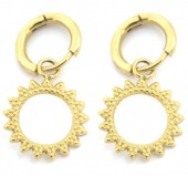 A-C5.2  E2033-007G S. Steel 10mm Earring with 15mm Open Charm Gold
