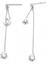 E-A20.2 SE104-211 925S Silver Earrings Moon and Star with Zirconia