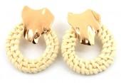 B-B22.3  E426-014 Straw with Metal Earrings 50x40mm Gold