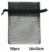 C-B15.1 Organza Gift Bag 16x10cm Black 50pcs