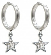 C-A7.3 E1934-003S Stainless Steel 15mm Earrings with 10mm Star  Silver