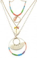E-F9.1 N537-004 Long Layered Necklace Surfbeads-Pearls-Tassels-Shell