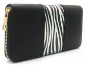 R-H2.1 WA529-001B PU Wallet Shiny Zebra 19x10cm Black