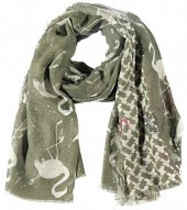 X-N9.2 S106-002 Square Scarf with Flamingos and Glitters 140x140cm Green