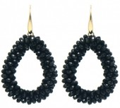 B-B2.3 E007-001 Facet Glass Beads 4.5x3.5cm Gold-Black