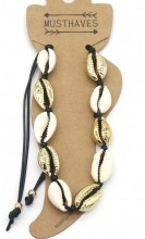J-E6.1 ANK2001-007A Anklet with Shells Gold-Black